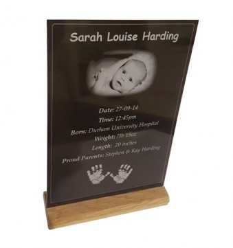 Black Anodised Aluminium Photograph Plaque with Oak Stand